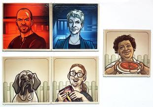 5 db promo lapka a Fedőnevek képekkel társasjátékhoz.
